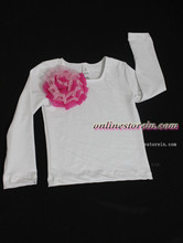 Baby t shirt long sleeve Chiffon flowers pink  Baby girls pettitop cotton t shirt