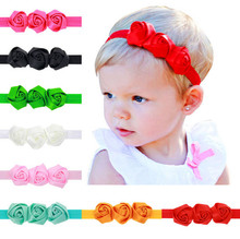 1pcs/lot 2016 Hot Sale Candy Color 3 Flower Baby Headband Girl's Headwear children Hair Accessories Newborn Infant Photo Prop