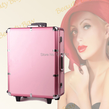 Free shipping to Singapore Malaysia and other Asia countries, Pink Aluminium trolley cosmetic case with lights mirror and stands