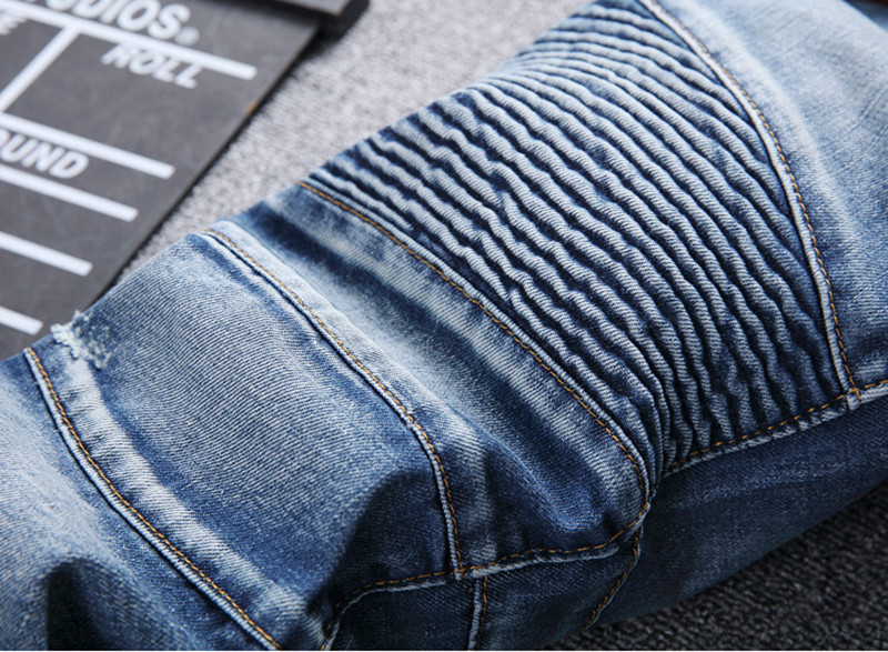 Men's Fashion Brand Designer Ripped Biker Jeans Men Distressed Moto Denim Joggers Washed Pleated Jean Pants Black Blue 14