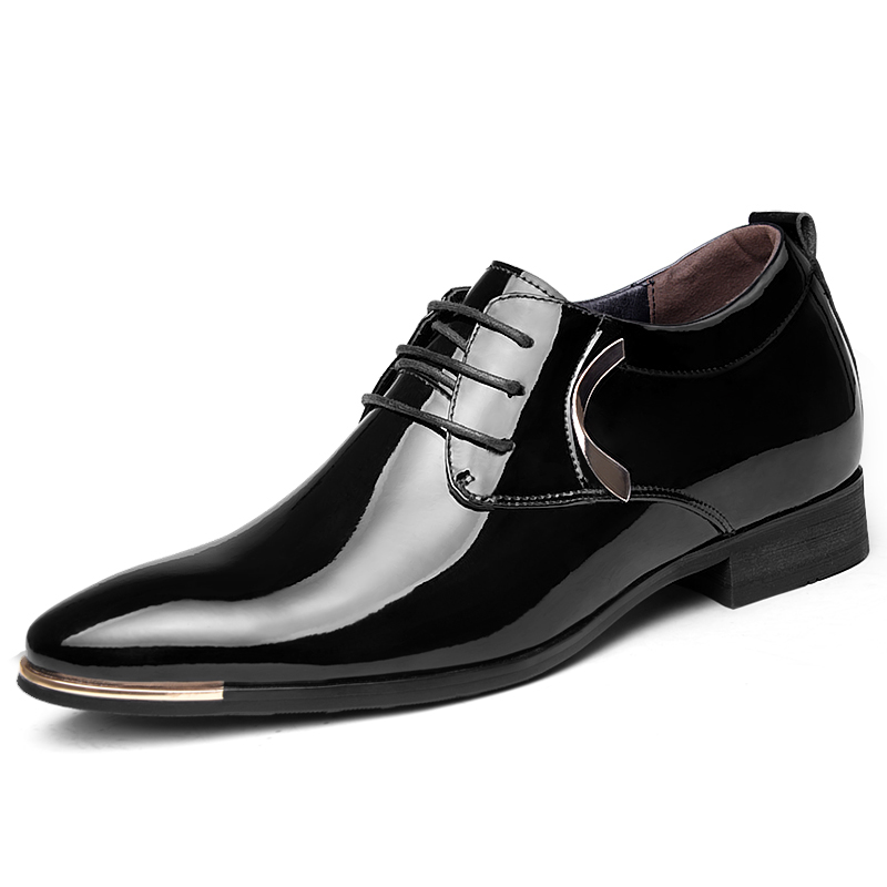 Invisible Heightening Shoes Genuine Leather Elevated Derby Formal Business Wedding Shoes-2.36 Inches Taller<br><br>Aliexpress