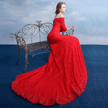 Formal Red Appliques Lace Mermaid Evening Dresses Designer Boat Neck Half Sleeve Long Prom Gowns Cheap Lace Evening Dress