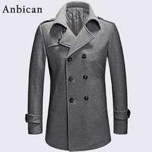 Anbican Fashion Gray Men Winter Coat Wool Blend Double Breasted Long Coat Oversize Classic Mens Pea Coat Plus Size M-XXXL