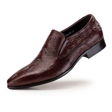 Autumn Men Shoes Black & Brown Genuine Leather Flats Pointed Toe Men's Oxfords Business Dress Footwear High Quality formal shoes