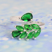 2017 hot cheap silver color leaf women wedding gift jewelry party jewellery AAAA zircon green adjust finger ring free shipping
