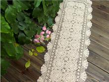 country crochet table runner 100% cotton crochet table cloth Lace table runner white beige