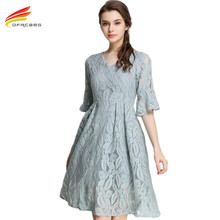 Buy Lace Dress 2018 Spring Summer Half Flare Sleeve V Neck Vogue Dresses Women Euro Style Party Wear Woman Clothes Vestido Renda for $20.82 in AliExpress store