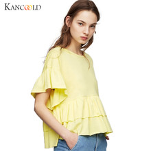 2017 women short Sleeve shirt Top Fashion Women's female girls Autumn Cute Ruffles Loose shirts femininas blusas Tees Tops sp12a(China)