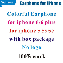 Lowest price !! Earphone For Iphone 6 6plus 5 Stereo With Mic Remote Control in retail box without logo 10 colors for choose