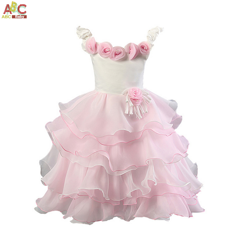 Girls Pink Dress Sleeveless Flower Girls Dresses For Party And Wedding Fashion Cotton Childrens New Year Fancy Princess Dress<br><br>Aliexpress