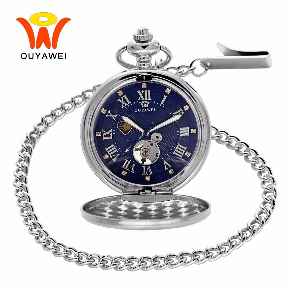 Ouyawei 2017 Antique Moon Phase Mechanical Pocket Watches With Chain Skeleton Dial Men Clock Necklace Pocket Fob Watch 3 Colors<br>