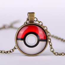 Vintage Pokemon Glass Dome Pendant Necklace Women Men Jewelry Collares 303(China)