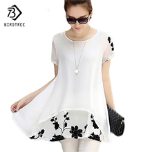Plus Size 5XL Chiffon Blouse Women Clothing Loose Short Sleeve Embroidery Flower Print Patchwork White Tops Big Shirts D53558