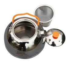 Portable tableware Stainless Steel Tea Pot Camping Kettle Outdoor Water Kettle Picnic Portable Cookware(China)