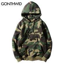 GONTHWID Army Green Camouflage Hoodies 2017 Winter Mens Camo Fleece Pullover Hooded Sweatshirts Hip Hop Swag Cotton Streetwear(China)