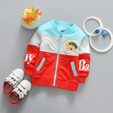 New Spring Casual Baby boyls Children's Long sleeve Cartoon bear patch letter patchwork Outwear Coats jack cardigan Y2031