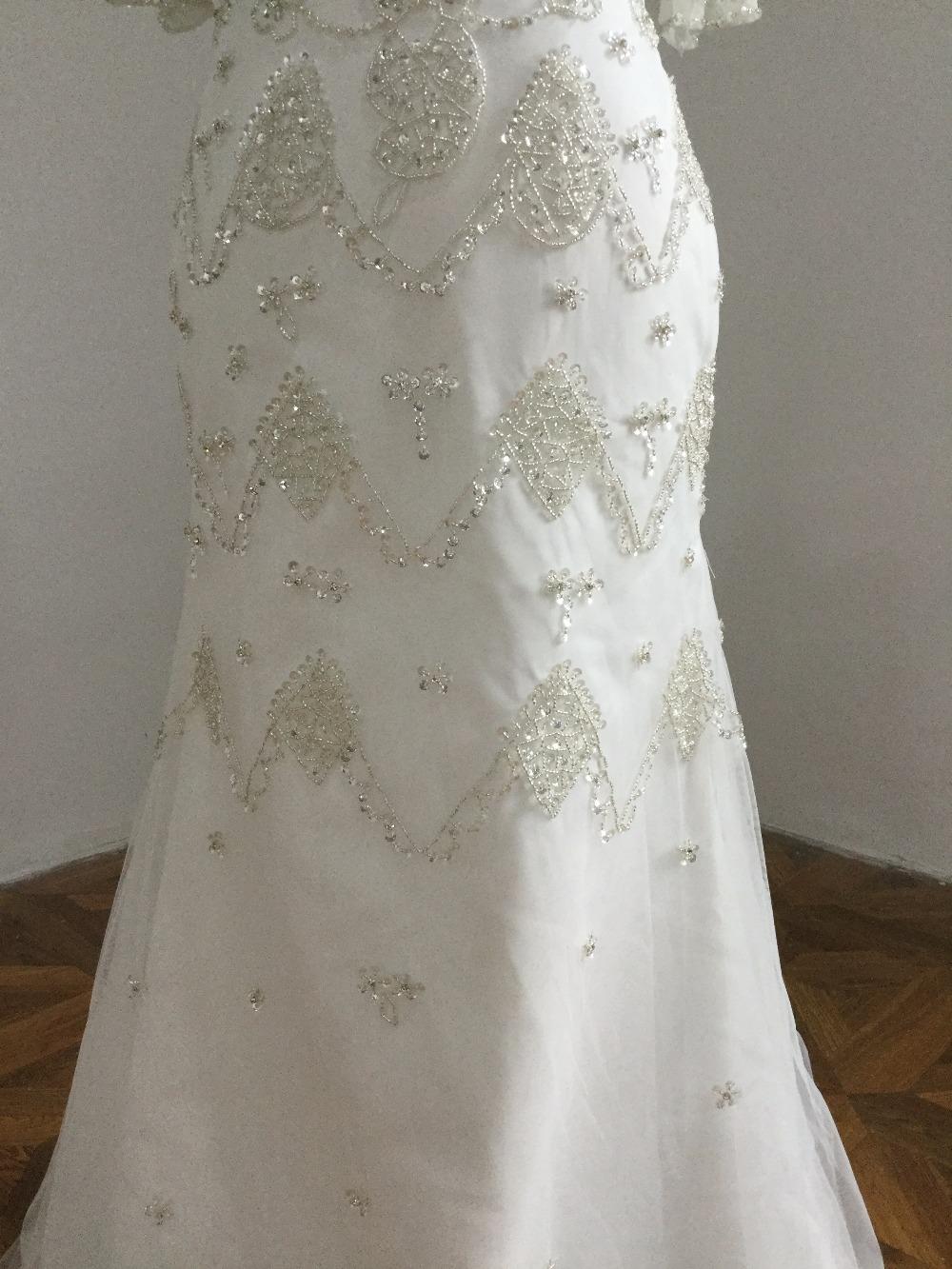 V neck short sleeves wedding dress