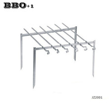 New Outdoor Beach Folding BBQ Barbecue Grill Rack w/ 6pcs BBQ Skewers Portable Garden Support Metal Stand Cooking Tool for 1 set