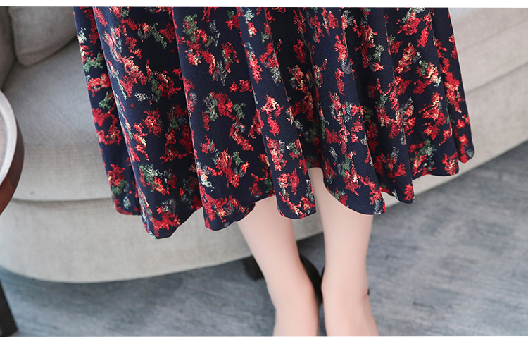 Autumn Winter New 3XL Plus Size Vintage Midi Dresses 2018 Women Elegant Bodycon Floral Dress Party Long Sleeve Runway Vestidos 49 Online shopping Bangladesh