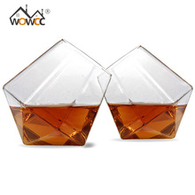 WOWCC 1pc Whiskey Wine Glasses Cup Novelty Crystal Diamond Shaped Tumblers Bar Beer Glass Drinking Cup Canecas Drinkware(China)