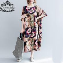 Women Cotton and Linen Dress Big Size Floral Pattern Print T-Shirt Summer Fashion Casual Female Tops Long Vintage Tshirt Dresses(China)