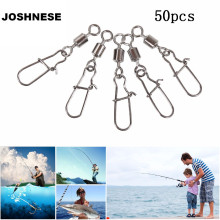 JOSHNESE 50PCS Fishing Bearing Rolling Swivel Steel Alloy With Snap Fishhook Lure Connector Fish Swivel Hook Tackle
