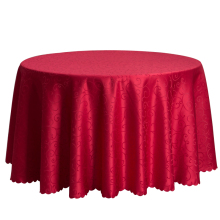 Wholesale Big Size Polyester Wedding Tablecloth Jacquard Red Round Table Cloth Hotel Dining Table Cover Decor Solid Table Linen