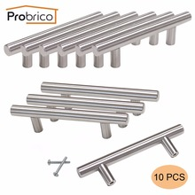 Probrico 10 PCS Kitchen Cabinet T Bar Handle Stainless Steel Diameter 12mm Hole CC 76mm Furniture Drawer Knob Pulls PD201HSS76