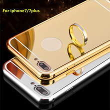 Fashion Luxury Ultra Slim Soft Case For iPhone7/7plus Clear Aluminum Edge + Shinny Mirror Back Cover For iPhone 7 4.7''& 7 Plus