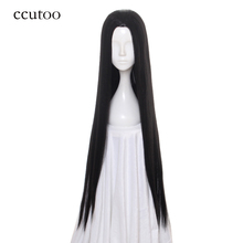 "ccutoo 100cm/39"" Black Women's Female Long Straight Slicked Back Styled Synthetic Hair Cosplay Costume Wigs For Party Halloween"