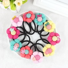 TS 5pcs Pumpkin flowers children girls hair accessories rubber bands barrettes girl headwear Retail wholesale Boutique