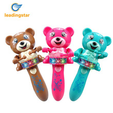 LeadingStar Music Toy with Colorful Light Baby Toddler Shaking Stick Drumming Bear Hallowmas Best Gift - Random Color zk15(China)
