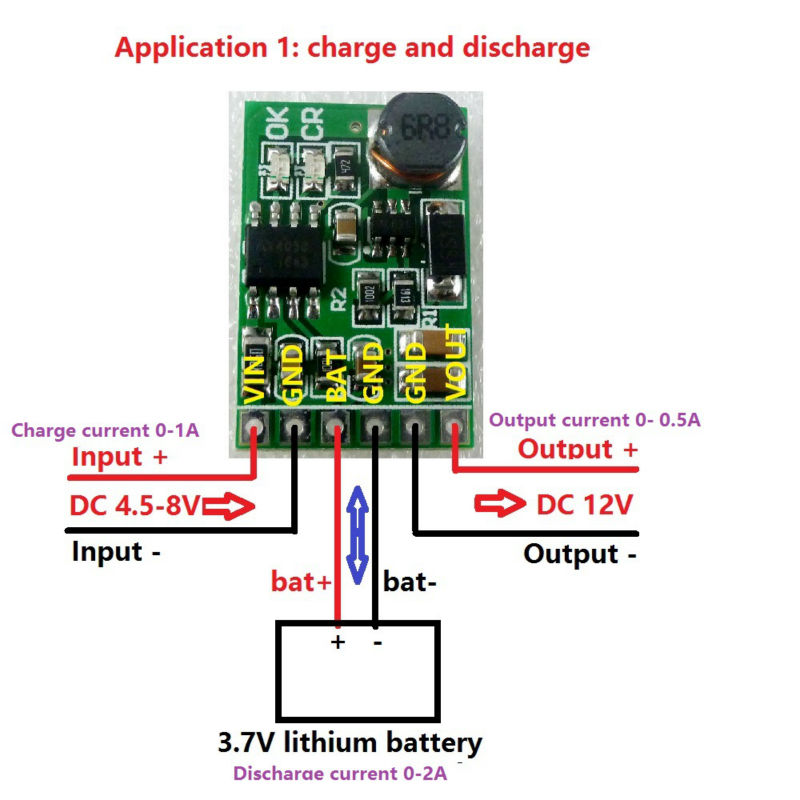 12V 2in1 Lithium Battery Charger & Discharger Board DC-DC Converter Step-up Module 3.7V 5V to 12VDC for IP PTZ Camera UPS Diy(China (Mainland))
