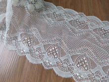 "6.9"" Width Scallop Springy Lace Trim, Elastic Lace Fabric Trim In Off White, Stretch Lace For Lingerie, Shoes(China)"