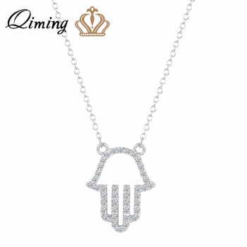 QIMING New Vintage Brand Design Gold Luck Hamsa Hand Pendants Necklace Luck Fatima Hand Palm Statement Necklace Jewelry