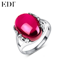 EDI 925 Sterling Silver Wedding Rings for Women Pink Natural Gemstones Ruby Thai Silver Rings Fine Jewelry Love Gifts(China)