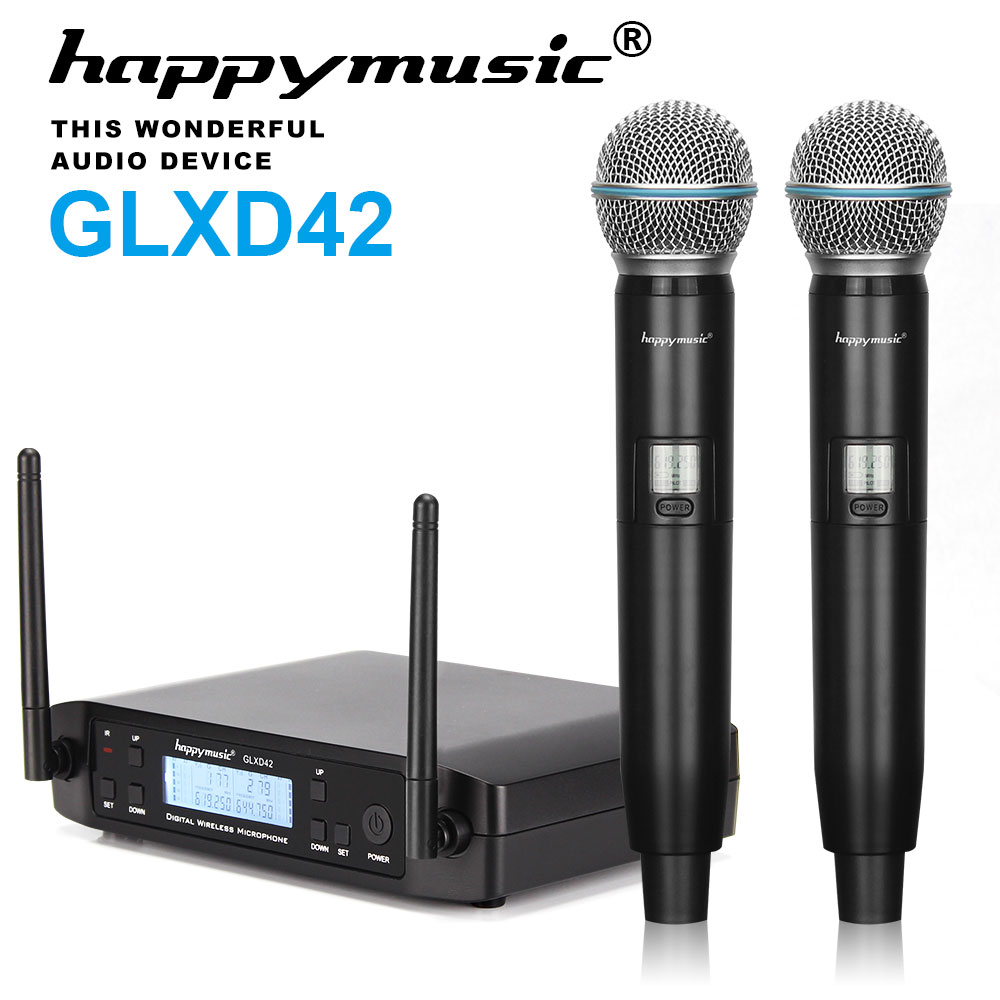 New High Quality Professional Dual Wireless Microphone System stage performances a two wireless microphone title=