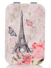 Lovely Makeup Mirror Compact Cosmetic Makeup Square Pocket Purse Double Sides Mirror with Eiffel Tower Picture(China)