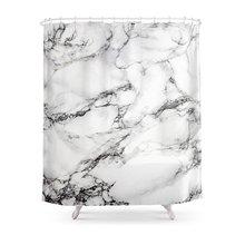 CHARM HOME Greyish White Marble Polyester Fabric Bathroom