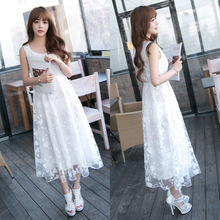 Women's dress new summer discounts lace embroidered chiffon dress child in the long section solid color dress women clothing
