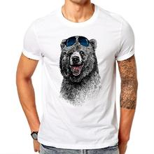 Fashion Laughing Bear Men T-shirt Short sleeve men The Happiest Bear Retro Printed Casual T Shirts(China)