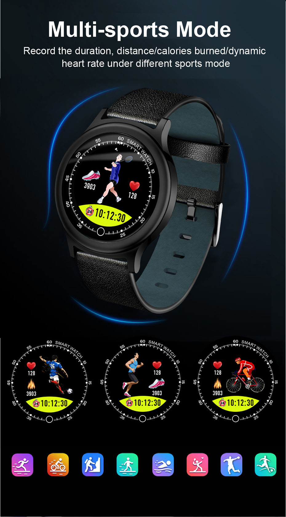 COLMI Fashion Smart watch Round Screen Clock IP68 Waterproof Men Fitness Activity Tracker Bluetooth Women Smartwatch For Android IOS _07