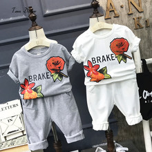 Tem Doger Baby Girls clothing 2017 Popular Children Summer Clothes Sets Rose Printed T-shirt + Middle Pants girls Clothing 2pcs