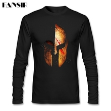 Men Tee Shirt Long Sleeve CrewNeck Cotton Spartan Greece Latest Design T Shirt Men's(China)