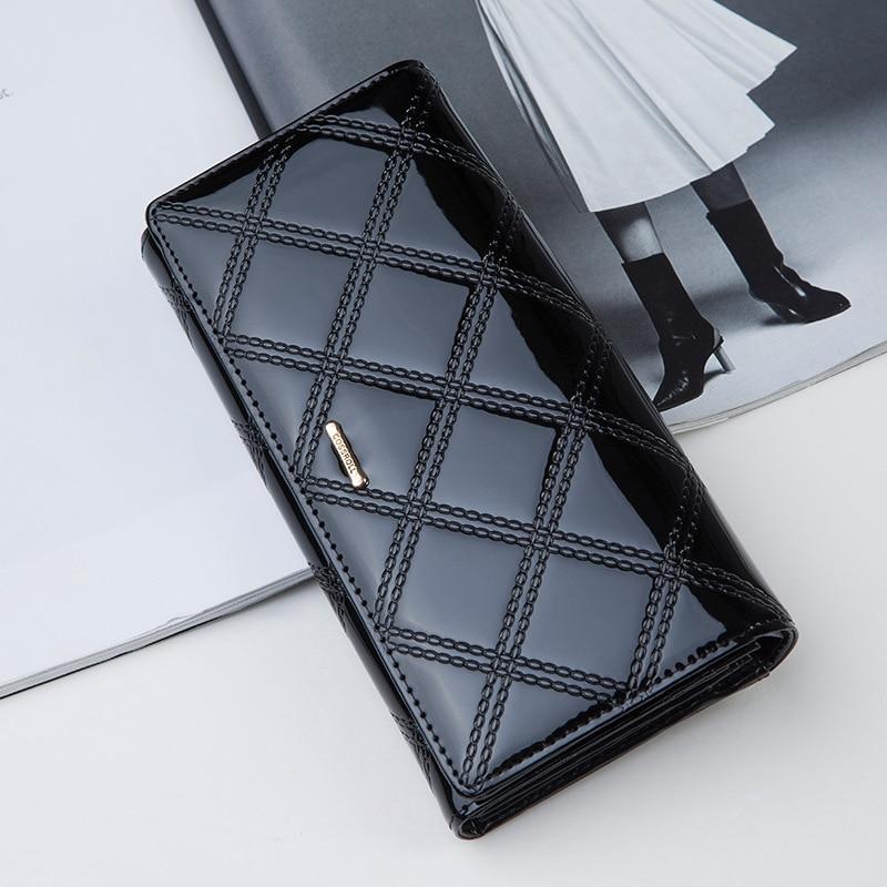 Red Patent Leather Wallet Women Elegant Brand Purse  Genuine Leather Designer Handbag Female Fashion Phone Bags<br><br>Aliexpress
