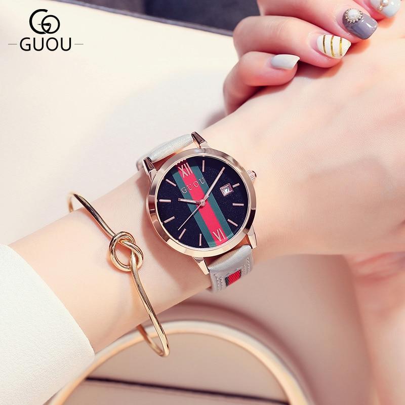 New GUOU Brand Fashion Design Women Watches Popular Elegant Reloj Mujer relojes time clock Watch hour Wristwatches Montre Femme<br>