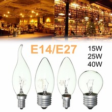 Incandescent Light Vintage Edison Bulb Round Flame Candle Light Lamp 15W/25W/40W SES E14 ES E27 Warm White Decor Lighting AC220V(China)