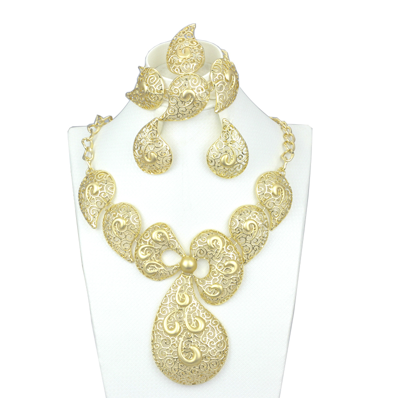 Big Erfly Tie Dubai African Gold Necklace Earrings Costume Jewelry