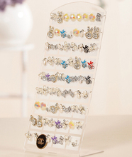 Free Shipping 6pcs/lot Clear Plastic Ear Studs Display Rack Stand Holder Organizer 36 Pairs Earring Jewelry Showcase