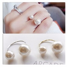 G293 Latest Fashion 2016 Big Small Two Imitation Pearl Rings Women Wedding Jewelry One Direction Bijoux Girls Finger Ring